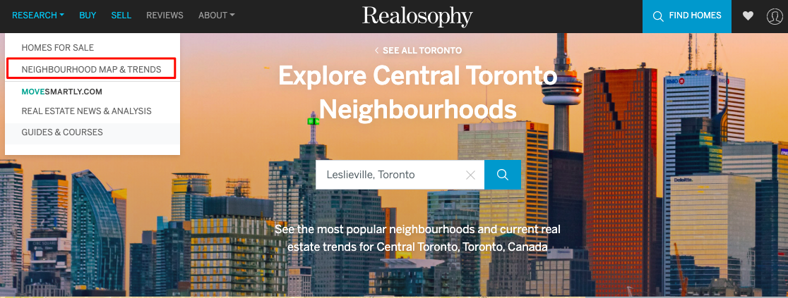 Realosophy.com website Toronto and Greater Toronto Area neighbourhoods